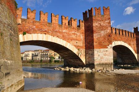 Castelvecchio bridge and adige river. Verona. Italy.