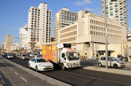 zionism: Coastal  highway at the seashore district of the city with the row of hotels. Editorial