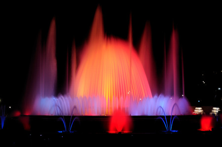 catalunia: Night show of singing fountains in Barcelona. Spain.