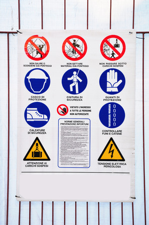 Board with different signs for accident prevention. Italy.