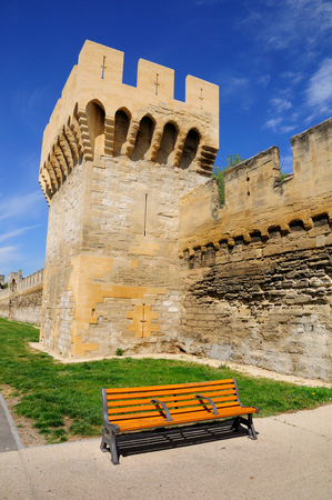 Medieval tower fragment of old city wall of Avignon city. Provence. France. Editorial