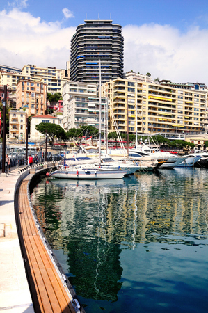 View to Monte Carlo bay with the yachts piers and hotels.