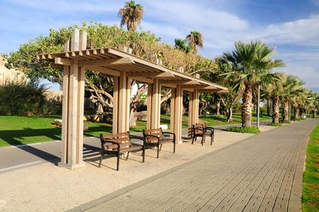 Landscape design in Tel Aviv port area.