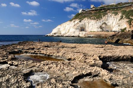 hanikra: Rosh hanikra - the northern end of israeli seashore. Stock Photo