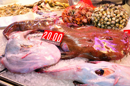 Seafood products at the fish market of Venice. Italy. Imagens