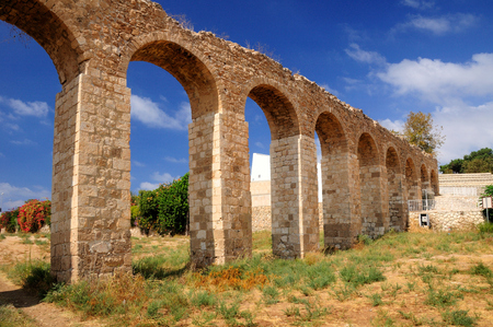 holyland: Ancient roman aqueduct in northern Israel near Nahariya city.
