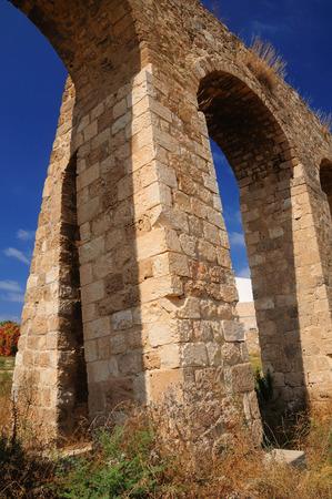 Ancient roman aqueduct in northern Israel near Nahariya city.