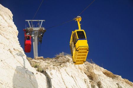hanikra: Cable road at Rosh Hanikra tourist site. Northern Israel. Stock Photo