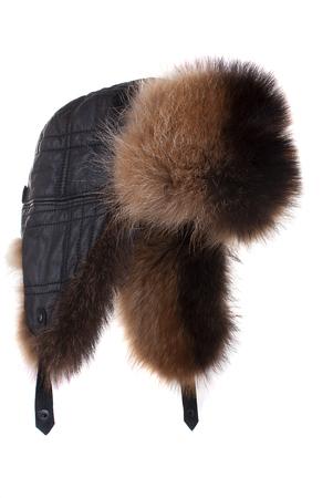 alaskan bear: Fur cap for winter weather isolatet on white background