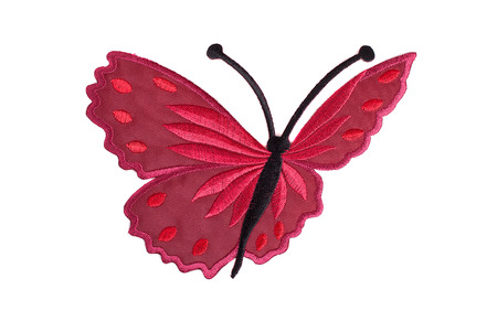 A butterfly of red thread isolated on white Stock Photo