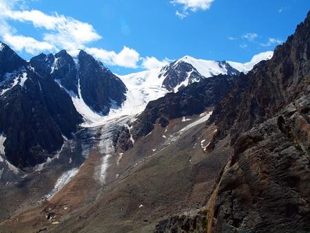 to altai: Glaciers Aktru, mountain Altai Stock Photo