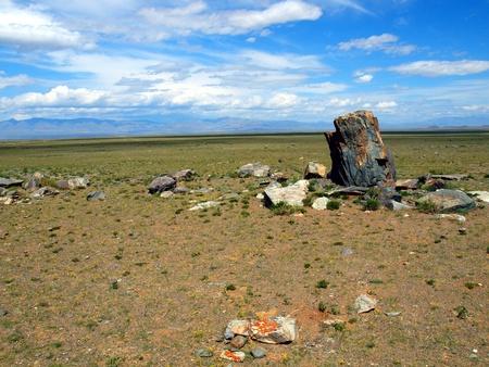 cult: Cult stones in steppe, mountain Altai