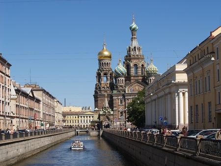 The orthodox temple Has rescued-on-blood in St.-Petersburg Stock Photo