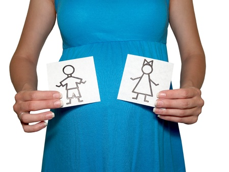 The pregnant woman holds drawings of the girl and the boy
