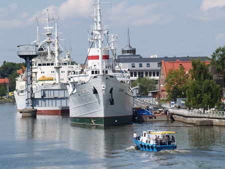 Kaliningrad. Research vessel Hero at a mooring of a museum of the World ocean.