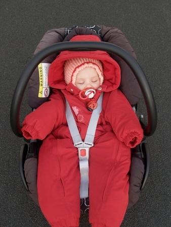 The baby sleeps in a children