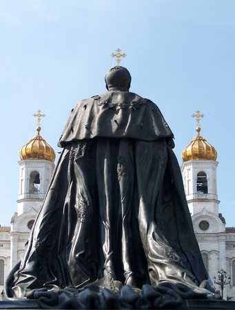 Moscow  A monument to emperor Alexander to the II liberator about Cathedral of the Redeemer