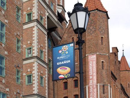 advertizing: European championship advertizing on football  EURO-2012 in Gdansk, Poland       Editorial