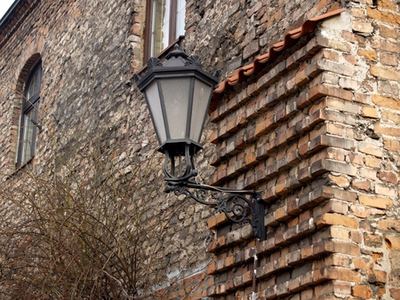 Decorative lamp on a wall of an old building in Gdansk, Poland Stock Photo