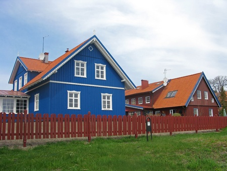 Nida, Lithuania  Cottages on the Kurshsky spit Stock Photo