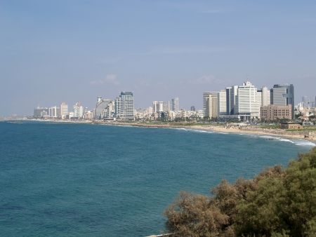 Israel  View of the Mediterranean Sea and the embankment in Tel Aviv Editorial