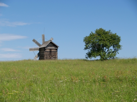 Karelia  Old windmill in the memorial estate Kizhi photo