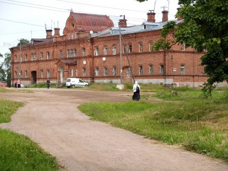 workhouse: Work-house in the territory of the Valaam monastery Stock Photo