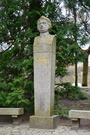 mickiewicz: Monument to poet Adam Mickiewicz in Gdansk Oliva, Poland