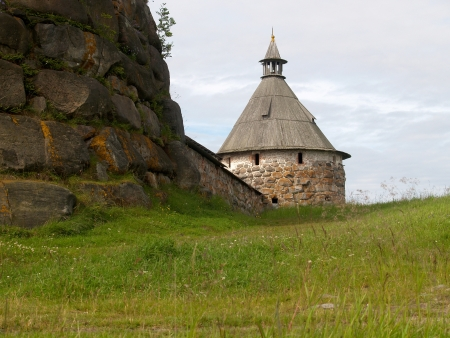 without people: Arkhangelsk tower of the Solovki monastery, Russia