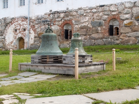 Bells in the territory of the Solovki monastery, Russia Stock Photo