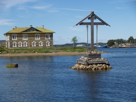 Navigation cross in the Wellbeing bay  Solovetsky Islands photo