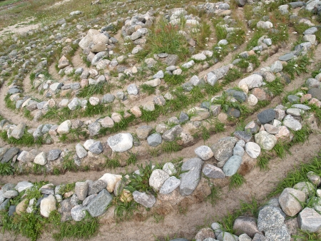 without people: Stone labyrinth on the Big Solovki island, Russia