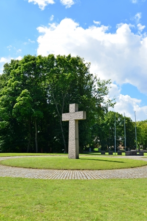 memorable: Kaliningrad  Memorable cross on the International memorial cemetery of victims of World War II