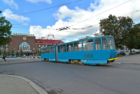 approaches: Kaliningrad  The tram approaches the railway Southern station Editorial