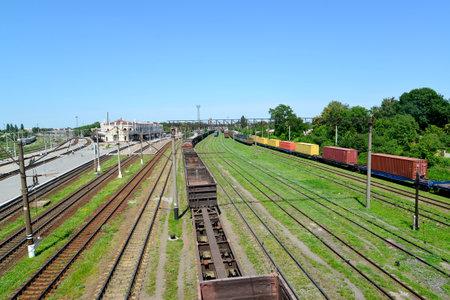 Kazatin, Ukraine  Cargo compositions at railway station Editorial