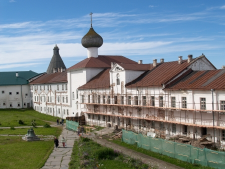 Restoration in Spaso-Preobrazhenskoye the Solovki monastery photo