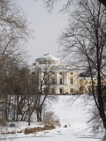 Pavlovsk  View of the Big palace through park trees Stock Photo - 23835765