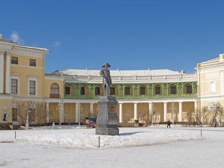 Pavlovsk  Monument to emperor Pavel I before the Big palace Stock Photo - 23929839