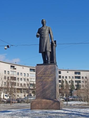 uitvinder: St Petersburg Monument voor AS Popov 1859-1906, aan de uitvinder van de radio Stockfoto