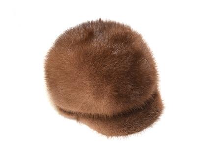 visone: Cap visone marrone su uno sfondo bianco