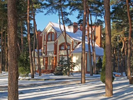 Winter  Cottage in the pine wood