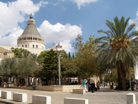 nazareth: View of the Lady day basilica in Nazareth, Israel