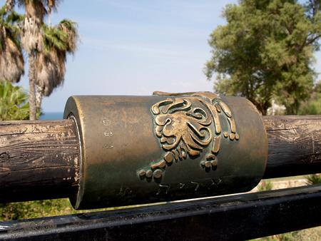 yaffo: Signo del zodiaco en el Puente Zhelany en Yaffo, Israel