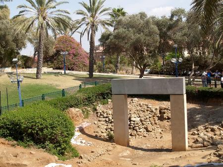 yaffo: Excavaci�n, puerta de los tiempos del fara�n Rams�s II. Yaffo, Israel