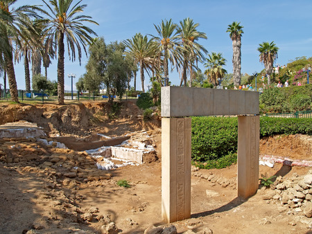 poorly: Excavation, gate of times of the Pharaoh Ramesses II. Yaffo, Israel Stock Photo