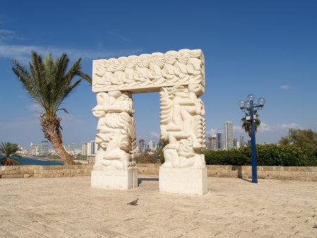 yaffo: Sculpture  A belief gate  in Yaffo, Israel Editorial
