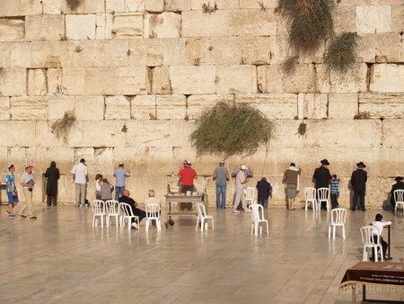 Israel. Men at the Wailing Wall in Jerusalem Stock Photo - 27480730
