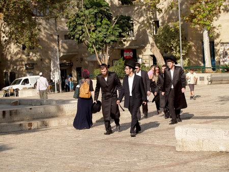 jewish group: Israel. Orthodox Jews on the street of Jerusalem Editorial