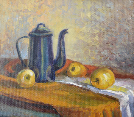 Still life with a coffee pot and fruit. Canvas, oil photo