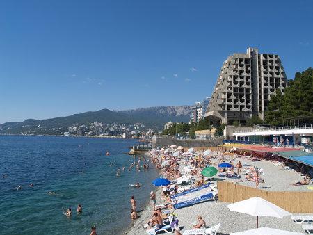 Crimea, Yalta. View of the beach and the black sea coast